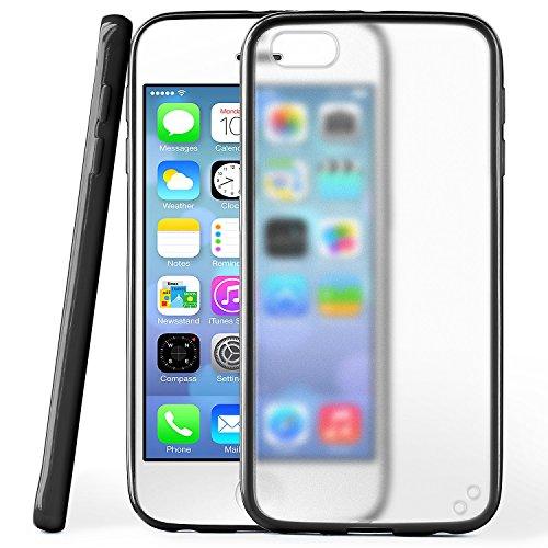 Funda protectora OneFlow para funda iPhone 5 / 5S / SE Carcasa silicona TPU 1,5mm | Accesorios cubierta protección móvil | Funda móvil paragolpes bolso traslúcida transparente en Nero
