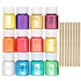 Pigmenti Migavan,12 Colori Coloranti Pigmenti Pera Polvere di Mica + 8 Pezzi Aste di Agitazione in Legno per Fai Da Te Progetti di Arte del Chiodo di Fabbricazione di Melma Forniture