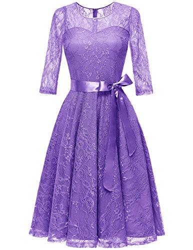 Dresstells Damen Brautjungfernkleid 3/4 Ärmel Rundhals Elegant Spitzenkleid Cocktailkleid...