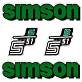 SET: Aufkleber Klebefolie SIMSON S51 B - GRÜN - für Tank und Seitendeckel von BISOMO®