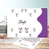 Taufkarte Basteln, Reinweiß 50 Karten, Horizontal einfach 148x105 inkl. weiße Umschläge, Lila