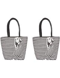 Paras Jute Women's Tote Bag (Black, Pack Of 2)