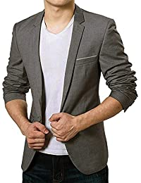 Vobaga Homme Slim Fit Casual Elegant Un Bouton Costume Manteau Jacket Veste Premium Blazer