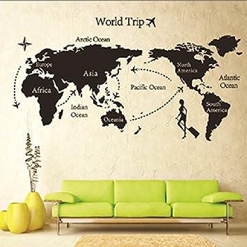 Map Of World Trip Vinyl Mural Art Wall Sticker Decals Decor For Living Room/world  Trip Wall Stickers/removable DIY World Trip Map Art Wall Decor Sticker ...
