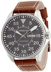 Hamilton Men's 45mm Brown Steel Bracelet & Case Quartz Grey Dial Analog Watch H64715885