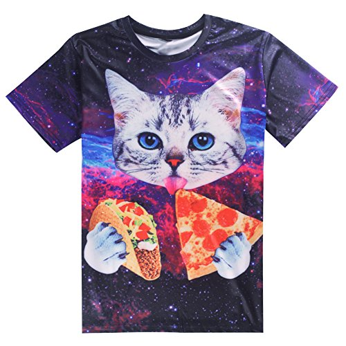 uideazone Unisex 3D-Druck Lustige Herren Kurzarm T-Shirts Bunt UK S-L cat3a