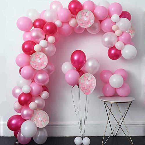 Mmtx Set De Globos De Confeti Rosa De 51 Piezas Incluyendo Globos De Latex Rosa Blanco Rojo Y Rosa Globos De Confeti Y 1 Rollo De Cinta Para