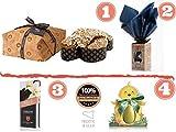 Confezione pacco regalo pasquale Colomba Fiasconaro con gocce di Cioccolato | Uovo Pasquale extra fondente al Cioccolato di Modica | Ovetto al Pistacchio di Bronte | Cioccolato di Modica IGP