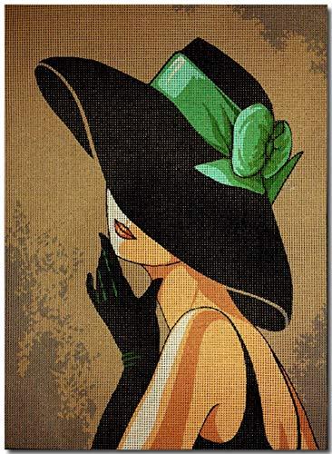 Gobelin Stickbild Stickpackung Dame mit Hut halber Kreuzstich 25x35cm. inkl. Sticktwist cod.608