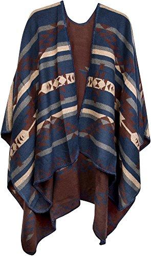 styleBREAKER Poncho mit Azteken Muster, Umhang, Überwurf Cape, Wendeponcho, Damen 08010012, Farbe:Dunkelblau-Braun-Beige (Jacken Blau Inka)