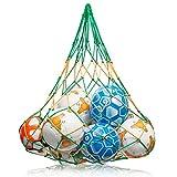 [WM Aktion] Großes Ballnetz [Balltragenetz] [5 mm dick] passend für 10-15 Bälle der Größe 5 [besonders belastungsfähig mit Edelstahlring] in Premium Qualität von Novus Via