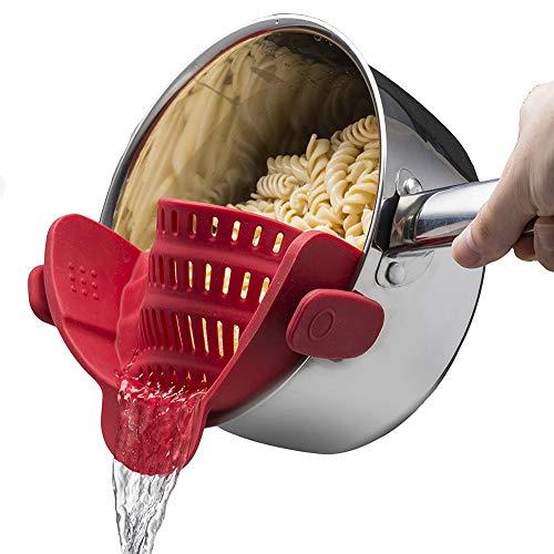 La cepa Vegetal colador Clip en Silicona Escurridor Se Adapta a Todas Las ollas y Cuencos para la Cocina (Rojo)