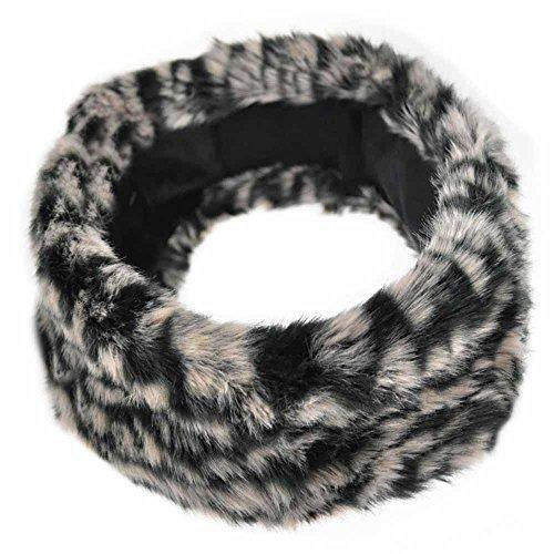 Cloud9Basic, paraorecchie elasticizzato in finta pelliccia, super morbido, per attività all'aperto, sci Leopard-Black&White