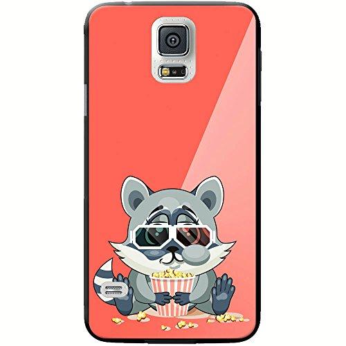 Waschbär mit gestreiftem Schwanz fröhlich mit Popcorn Hartschalenhülle Telefonhülle zum Aufstecken für Samsung Galaxy S5 (SM-G900F)