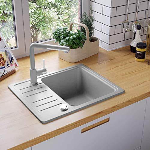 Festnight Granitspüle Einzelbecken | Küchenspüle Spüle | Einbauspüle Spülbecken | Grau Granit 1-Becken