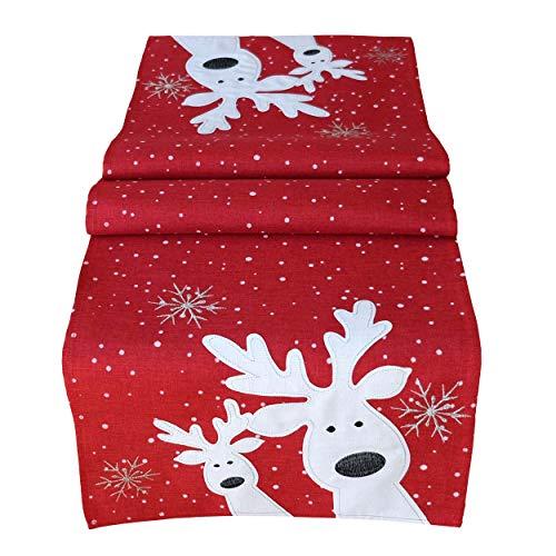 Raebel Tischläufer 40 x 140 cm Stickerei lustiger Elch rot-bunt Weihnachten Weihnachtsdeko Weihnachtstischdecke Mitteldecke Tischdeko Tischdecke