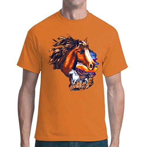 Fun unisex T-Shirt - Pferde bei Sonnenuntergang by Im-Shirt Orange