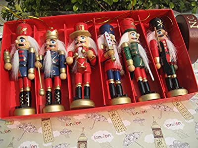 6 Wooden Handmade Traditional Nutcracker Christmas Tree Decorations