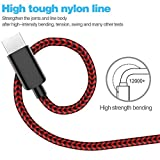 ActionPie USB Type C Cable 5-Pack(3/3/6/610ft) USB C Cable Nylon Braided Long Cord USB Type A to C Fast Charger for Macbook, LG G6 V20 G5,Google Pixel, Nexus 6P 5X, Samsung Galaxy S8+(Black&Red) Bild 1