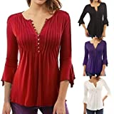 : OverDose Women Plus Size 3/4 Sleeve V-Neck Tunic Blouse