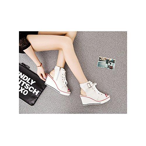 Femme Baskets Mode en Toile Talon Compensé Chaussures de Sport Platform #4 Blanc