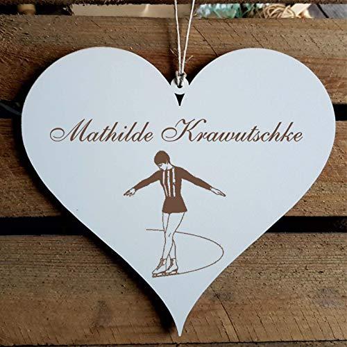 Schild Herz « Eiskunstlauf » mit persönlicher Wunschgravur - Deko Dekoration Türschild Name - Sport Eislauf