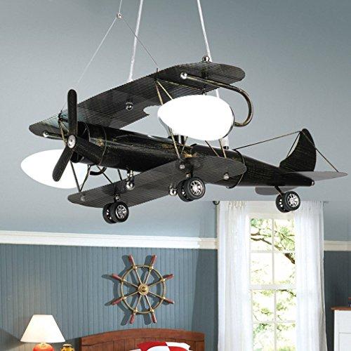 La saison de récolte Lampes pour avions rétro Lustre pour enfants Lampes pour chambre à coucher LED Lights -27 (couleur : Noir-Grand)
