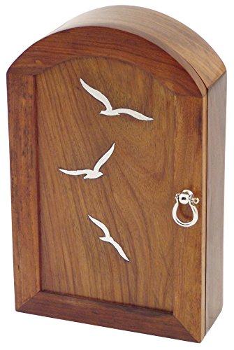 Générique 223 Boîte à Clés Motif Oiseaux, Laiton Nickelé Bois/Nickelé 25x16.5x7.5 cm