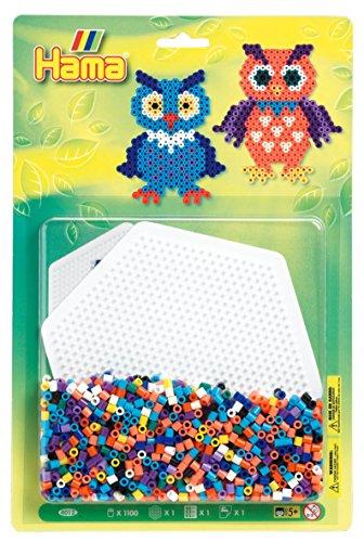 Buch Kleine Eule Set (Hama 4012 - Perlenset Eule, ca. 1100 Bügelperlen, 1 Stiftplatte und Bügelpapier)