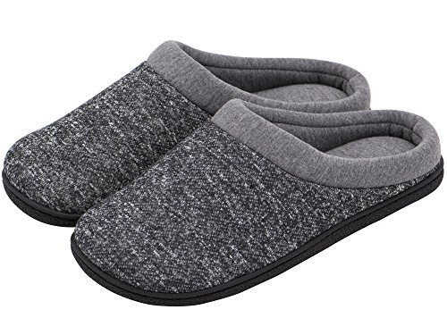 HomeTop Men's Comfort Slip On Memory Foam French Terry Lining Indoor Clog House Slippers (13-14 UK/X-Large, Gray)