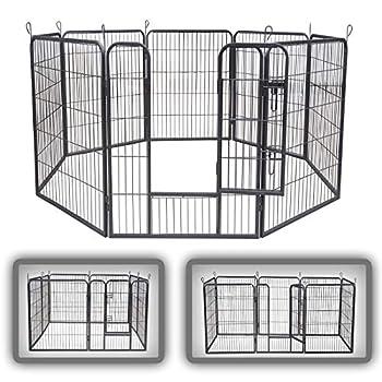 zoomundo Parc Enclos pour Chiens Métal pour Chiots Animaux Grillage Rongeur Petit avec Porte 8 Panneaux - XL