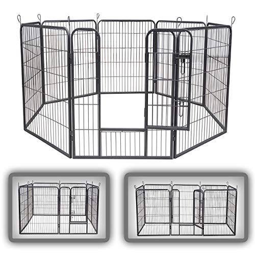 zoomundo Recinto per Cani Recinzione Box Cani Conigli Animali di Ferro Cucciolo Gabbia - 8 Pezzi - XL
