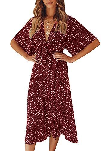 Yidarton Sommerkleid Damen Vintage Boho Midikleid Sexy V-Ausschnitt Bogen Lace Up Kleider Wickelkleid Polka Dot Kurzarm Partykleid Strandkleider (Rot, XL)