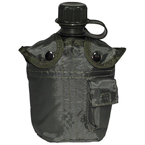 BKL1® US Plastikfeldflasche 1 L Trinkflasche mit Hülle Oliv Outdoor Camping wandern 1273