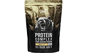 nu3 Protein Complex - Vanille Geschmack - 1kg Proteinpulver - Whey, Milch, Ei Mehrkomponenten 3K Eiweiẞ - Gute Löslichkeit bei über 5,3 g BCAAs pro Portion - Kraftsport optimiert - aspartamfrei