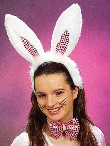 Bunny-Kostüm: Set deluxe mit Schleife und Haarreif mit Ohren