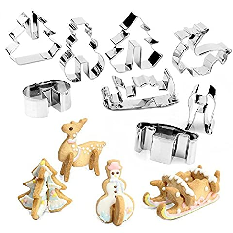 8Pcs Stainless Steel Christmas Cookie Cutters, HULISEN Biscuit Cutter Set,