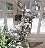 Vintage Osterhase Hase sitzend mit Schleife Shabby Antik-Optik silber 13 cm