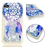 COZY HUT Custodia iPhone 4 4S Glitter Cover,Brillantini Trasparente Silicone Sabbie Mobili Bumper Case per Custodie iPhone 4 4S - Campanellino a Vento in Cristallo Blu
