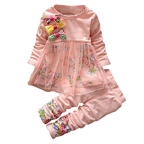 (ALISIAM Winter Weihnachten Kind Mädchen schön Mode Gemütlich Hautfreundlich Lange Ärmel spleißen Chiffon Bogen Drucken Kleider und Hosen Passen Kinderkleidung)