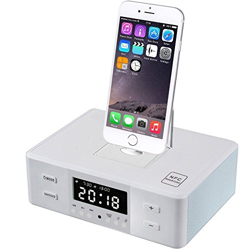 PowerLead Wireless Bluetooth Lautsprecher, Dual-Wecker UKW-Radio mit Fernbedienung Ladestation 3-in-1-Plattenspieler-Basis für jedes iPhone Android iPad iPod Lade-und Wiedergabe
