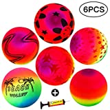 Twister.CK Rainbow Beach Balls, Weltmeisterschaft Fußball Beach Volley - 6 Pack Kinder Neon Rubber Ball im Freien Spielen Bouncy Beach Ball PVC Multicolor Weichen Spielplatz Ball für Kids Party Favor