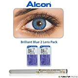 #3: Alcon Freshlook Monthly Brilliant Blue Color Zero Power Contact Lenses with Free Eye/Lip Liner (2 Lens Pack) By Visions India