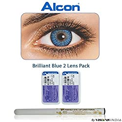 Alcon Freshlook Monthly Brilliant Blue Color Zero Power Contact Lenses with Free Eye/Lip Liner (2 Lens Pack) By Visions India