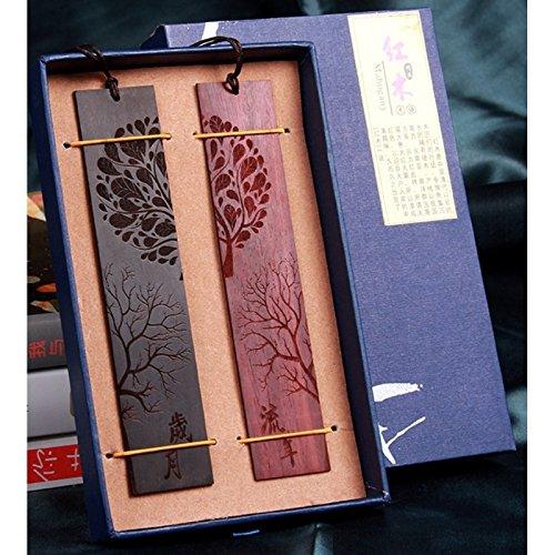Huihuger Lesezeichen, Retro-Stil, handgefertigt, aus natürlichem Holz, 1 Set mit 2 Stück