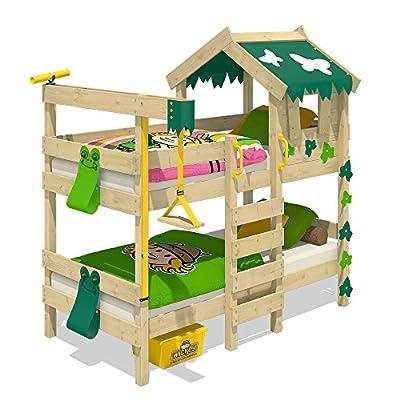 Wickey Litera Crazy Ivy Cama para Jugar para 2 niños Cama Alta con Techo, escalara para trepar y somier de Madera