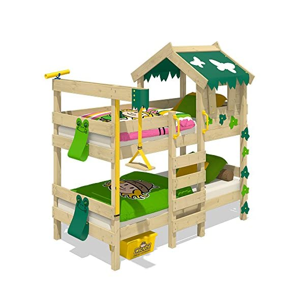 WICKEY Bunk Bed Crazy Ivy Play Bed for 2 Children Loft Bed with roof, Climbing Ladder and slatted Bed Base, Green-applegreen Wickey Fabulous bunk beds for boys and girls - Quality and safety tested - CrAzY roof and climbing ladder Natural and untreated wood - Solid wooden boards 18x120mm - Solid standing beams 58x58mm Mattress surface 200 x 90 x 12cm - Mirrored assembly possible - Detailed assembly instructions 2