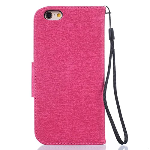 iPhone 6 Coque, iPhone 6S Coque, Lifeturt [ Rouge ] [book-style] Flip Case Coque en PU Cuir Housse de Protection Étui à rabat Case Cover Ultra Slim Portefeuille PU Cuir avec stand de Carte Slots Suppo E02-Rouge5878