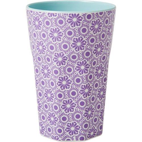 rice Becher Melamine Two Tone Latte Cup - Marrakesh Print - MAX Temp. 90C (Lila & White - Innen Türkis)