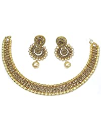 Shree Mauli Creation Golden Alloy Double Stone Drop Polki Necklace Set For Women SMCN513